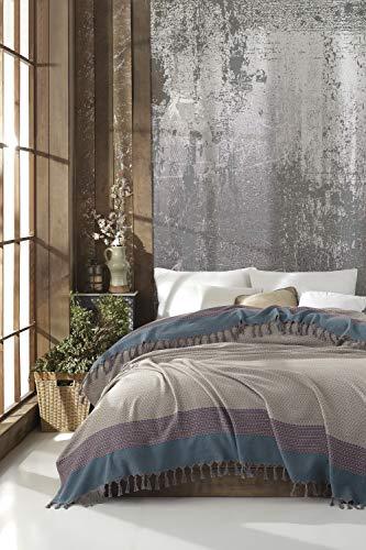Artemis Tagesdecke Überwurf Decke - Wohndecke hochwertig - ideal für Bett und Sofa, 100% Baumwolle - handgefertigte Fransen, 200x250cm (Beige)