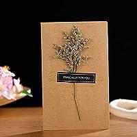 グリーティングカード特殊紙本当に乾燥した花グリーティングカード手作りのブロンズメッセージグリーティングカード誕生日の挨拶小さなカードのカスタマイズW
