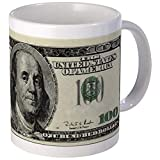 100 Dollar Bill Mug - Ceramic 11oz Coffee/Tea Cup Gift Stocking Stuffer