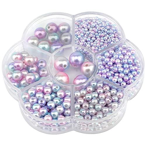 1150 perline rotonde, 3/4/5/6/8/10/12 mm, perline distanziatrici rotonde, da infilare, perle artificiali, per fai da te, collane, bracciali, orecchini, anelli