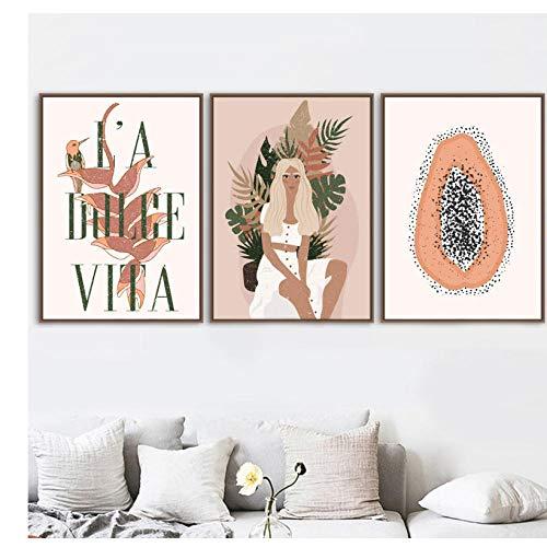 kaxiou Abstrakte Mode Mädchen Tiger Pflanze Wandkunst Leinwand Malerei Nordic Poster und Drucke Wandbilder für Wohnzimmer Dekor-42X60Cmx3 Pcs Kein Rahmen