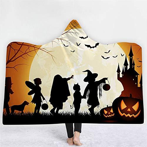 FimGGe Halloween Mit Kapuze Tragbare Decke Kürbis Hexe Dicke Decke Winter Sofa Bettwäsche Werfen für Erwachsene Kinder Hause Cobija Cobertor-130 cm * 150 cm