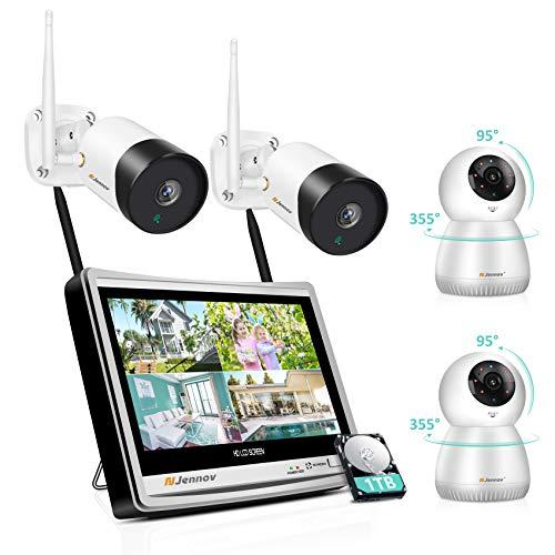 Jennov WLAN Überwachungskamera Set mit 12 Zoll Monitor + 1 TB Festplatte, 1080P IP Kamera mit Bewegungsmelder + Nachtsicht, Zwei-Wege-Audio Schwenkbar Neigbar Sicherheitskamera für Innen Außen