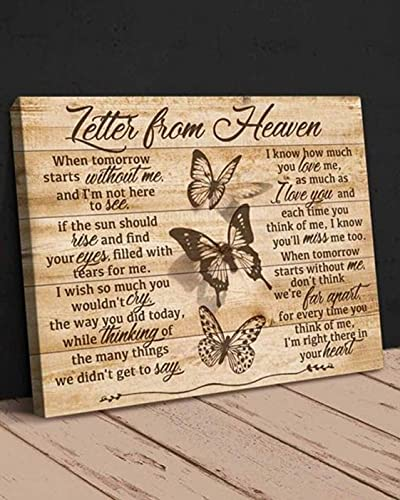 Gearsly Letter from Heaven Butterflies Vintage in Memorial Day Poster No Frame Or Framed Canvas 0.75 Inch Print in Us Novelty Quote Meaningful, Motivational