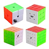 HJXD global Cyclone Boys Magic Cube Set 4 Pack 2x2x2 3x3x3 4x4x4 5x5x5 Stickerless Speed Cube True Color