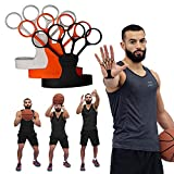 FlickGlove Basketball Shooting Aid, Training Equipment for Improving Shot and Form, Set of 3 Silicone Strap Resistances, White, Black and Orange