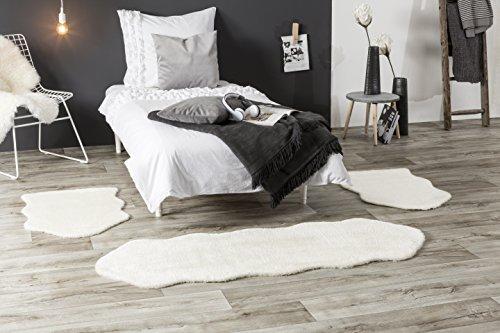Andiamo Lammfell, synthetischer Florteppich, Weiß, 2 Einheiten von 55 x 80 cm und 1 Einheit von 55 x 160 cm