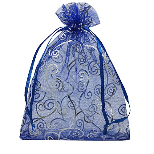 YIJUE 100pcs 5x7 Inches Drawstrings Organza Gift Candy Bags Wedding Favors Bags (Navy Blue with Silver)