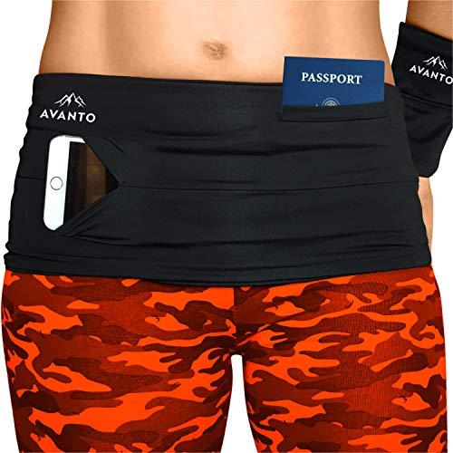 AVANTO Slim Fit Running Belt with zippered Wrist Wallet, Phone Holder For Running, Passport holder, Travel Money Belt, Waist and Fanny Pack for Women and Men, Feels Like Second Skin(Black, S)