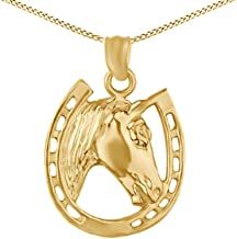 Jewel Zone US 14k Gold Over Horse face and Horseshoe Pendant Necklace Charm