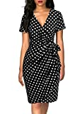 Lyrur Women's 1950S Wrap V Neck Bodycon Pencil Short Sleeves Knee Length Tie Belt Black Polka Dot Cocktail Dresses(S,9069-Black Dot)