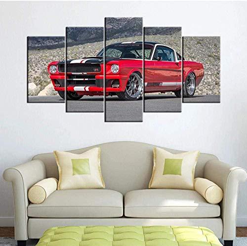 5 piezas lienzo pintura pared arte póster imagen modular Ford Mustang Muscle Cars marco para fondo de cabecera 150x80cm con marco