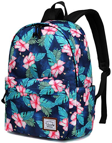 Floral Backpack,Vaschy Lightweight Daypack School Backpack for Teenage Girls Women Backpack with 15 Inch Laptop Compartment (Turquoise Floral Blooms)
