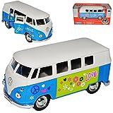 Welly - Passeggino T1, colore: Blu e Bianco con Hippie Flower Power Design Samba Bully Bus 1950-1967 ca 1/43 1/36-1/46