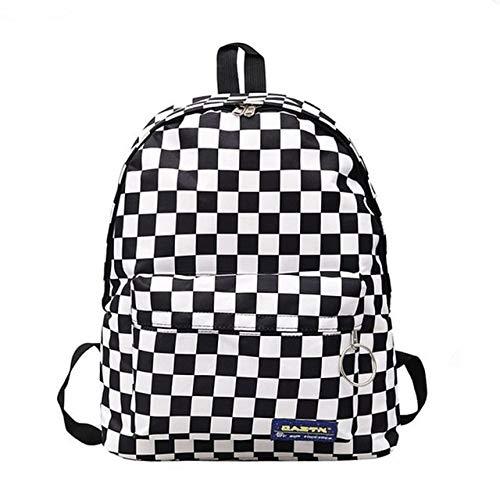 Bruce Dillon 2019 Unisex Plaid Rucksack New Trend Schachbrett Teen Schoolbag Paar Rucksack - A.