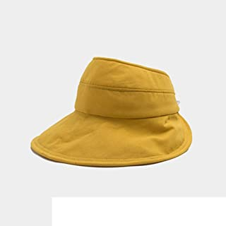 Vadeytfl Hat,Women's Summer Visor Hats, Sun Hat Large Brim Adjustable Visor Packable Visor (Color : Yellow)