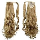 24'/65cm Coleta Postiza de Pelo Sintético Rizado con Clips - Cabello Invisible y Natural - Ponytail Hair Extension