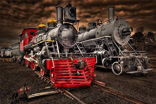 YANCONG Puzzle 1000 Piezas, Dos Trenes Antiguos En La Estación