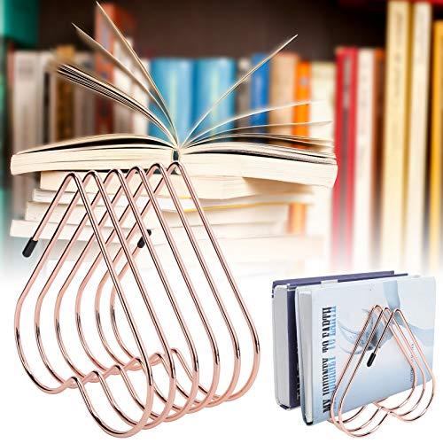 Estante de almacenamiento de libros de escritorio antioxidante Soporte de libro telescópico conciso para organización de escritorio(Rose gold)