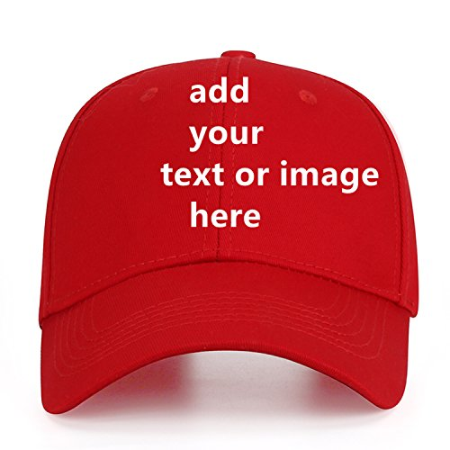 Custom Baseball Cap with Your Text,Personalized Adjustable Trucker Caps Casual Sun Peak Hat for Gifts Red