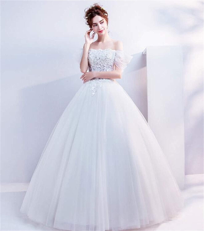 Wedding Dress,Elegant Lady OffTheShoulder Floor Length Round White Wedding Dress, Performance Evening Costumes