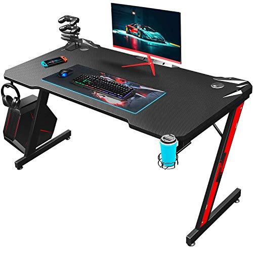 Homall Mesa de juegos para gaming, mesa ergonómica para ordenador, 110 cm, marco Z con soporte para controlador, soporte para vasos, gancho para auriculares, color negro