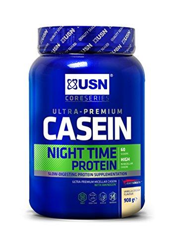 USN Casein, Slow Digesting Premium Protein Shake, 24 g of Protein Per Serving, Strawberry, 908 g