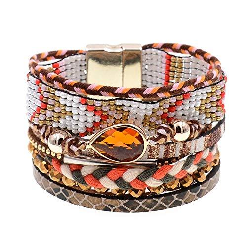 Guozhijun Damesarmbanden, 6 kleuren, lederen armbanden, bohemen, parels, bedelarmbanden voor dames, modesieraad