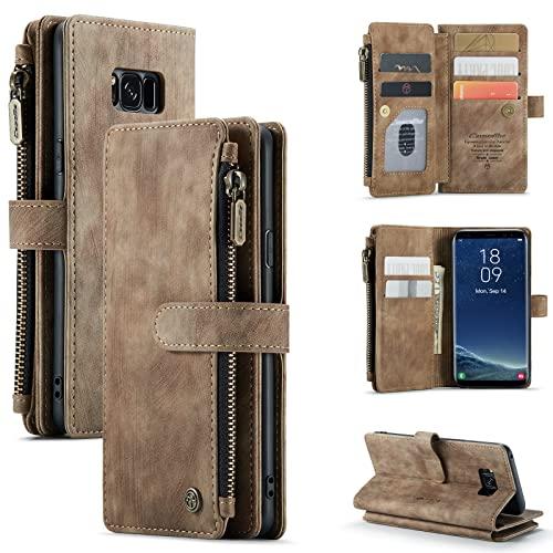 per Samsung Galaxy S8 Custodia a portafoglio in pelle PU Flip Cover con Magnetica Pulsanti, Slot per Schede, Slot per contanti, Tasca con cerniera e Cornice per foto (marrone)