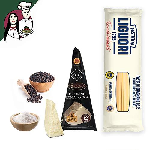 Box completo Cacio e Pepe per 4/5 persone, Pasta di Gragnano IGP + Pecorino Romano DOP + Sale e Pepe Nero Selezionati + Tagliere omaggio