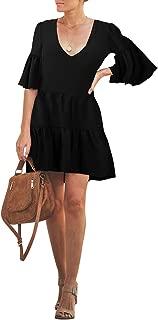 BELONGSCI Women's Summer Dress Sweet V-Neck Half Bell Sleeve Floral Party Short Mini Dress