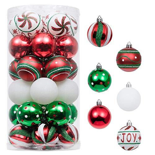 Valery Madelyn Weihnachtskugeln 30 Stücke 6CM Kunststoff Christbaumkugeln Weihnachtsdeko mit Aufhänger Weihnachtsbaumschmuck für Dekoration Klassische Serie Thema Rot Grün Weiß