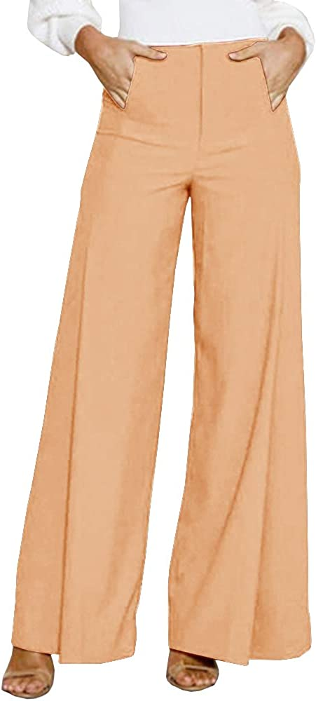 Geckatte Women Casual High Waist Loose Stretch Wide Leg Long Pants Palazzo Trousers