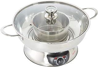 AJH Pot Chaud de cuiseur Multi électrique à 2 côtés et Pot Chaud de Base de Chauffage de Bateau à vapeur1600W
