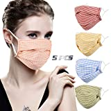 Washable Reusable Face Masks for Women - Stripe Fashion Stylish Cute Pretty Breathable Decorative Layer Mask , Cotton Cloth Fabric Designer Madks Men Adult Gift Adjustable Ear Loops Protection