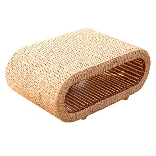Schreibtische Tabelle Pastorale Rattan Tisch Erkerfenster Tisch Massivholz Kleiner Couchtisch Ovaler Teetisch Lagerung Lagerung Stroh Tatami-Plattform (Color : Brown, Size : 80 * 50 * 35cm)