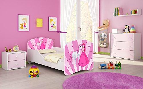 Kinderbett Jugendbett Komplett mit einer Schublade und Matratze Lattenrost Weiß ACMA I (160x80 cm, 08 Princess)