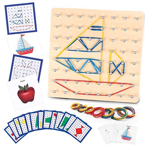 Lewo Geoboard de Madera Juguetes Montessori Manipulantes Matemáticos Juguetes Stem Juguetes Educativos con 48 Tarjetas de Patrón y Bandas de Látex