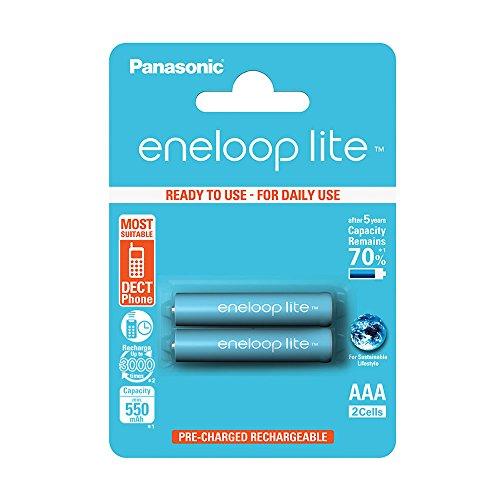 Panasonic Bk-4Lcce/2Be Blister 2 Batterie Ministilo AAA Ricaricabili Eneloop, Argento