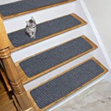 Ottomanson Scrape Collection Non-slip Indoor/Outdoor Solid Ribbed Design 7-Pack Stair Tread, 7 Pack, Grey