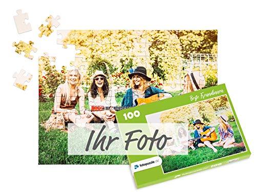 fotopuzzle.de Foto-Puzzle selbst gestalten - Puzzle 48 bis 2000 Teile mit eigenem Bild erstellen - Puzzle individuell Bedrucken Lassen - inkl. Geschenk-Schachtel mit Text - 100 Teile grüne Schachtel