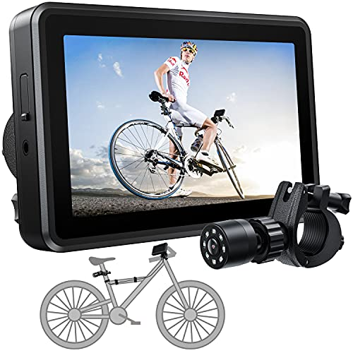 FEISIKE Handlebar Bike Mirror, Bicycle Rear View camera with 4.3'' HD Night Vision Function, 145° Wide Angle View, Adjustable Rotatable Bracket, Compatible with Bicycle, Mountain, Road Bike