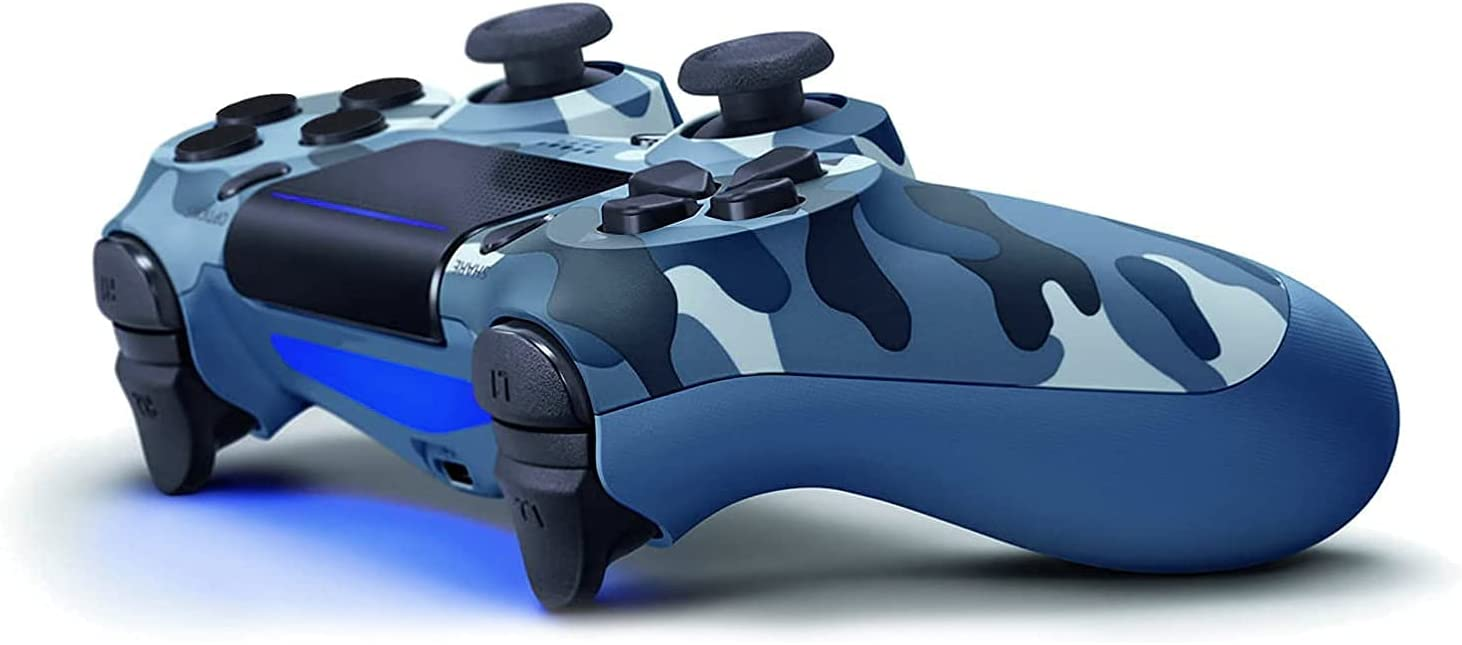 Camo Wireless Controller Compatible with PS4/Slim/Pro Console,Replacement for Official Remote, Gamepad with Gyro/Dual Vibration Motors/Audio Function/Speaker(Blue Camouflage)