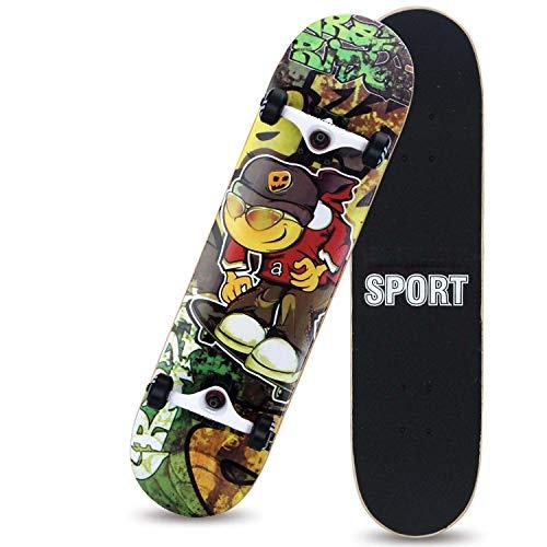 HMAKGG Mini Skateboard Cruiser Retro Tabla Completa Carga De 150 Kg, Monopatín De Madera para Principiantes Adultos Longboard, para Niños, Adolescentes Y Adultos, Rodamientos De Bolas ABEC-7