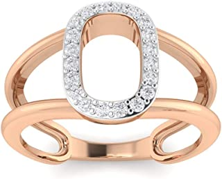 Perrian 18K White Gold 0.18 Carat (SI2 Clarity, GH Color) Round Diamond Ring for Women