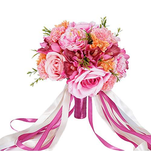 Aawsome Hochzeits-Brautstrauß, künstliche Rosen, künstliche Chrysanthemen-Kugel, Orchidee, realistisch, hält Blumen mit langem Band, Party, Kirche, Dekoration, Blumenzubehör für Hochzeit, Geburtstag