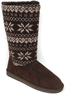 Women's Suede Mid Calf Snowflake Design Warm Winter Snow Boots Booties Shoes