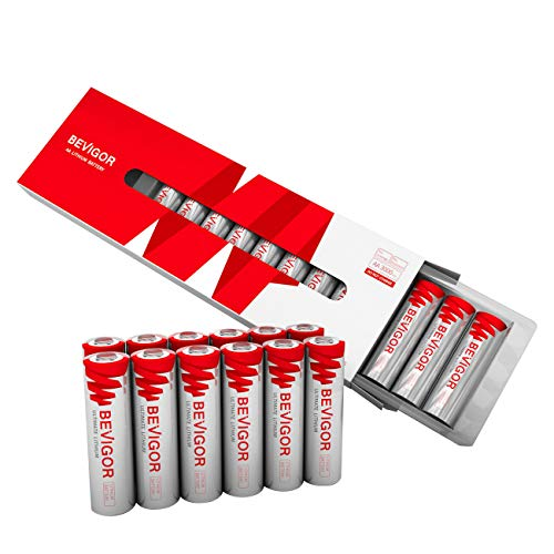 Bevigor AA Lithium Batteries, 12 Pack Ultimate Lithium Double A Batteries, 1.5V 3000mAh Longer Lasting AA Batteries for Flashlight, Toys, Remote Control, 【Non-Rechargeable】