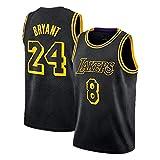 Schwarzes Mamba Kobe Herren Basketball Trikot, Lakers # 8N # 24 Swingman Unisex Basketball Trikot...