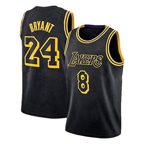 Schwarzes Mamba Kobe Herren Basketball Trikot, Lakers # 8N # 24 Swingman Unisex Basketball Trikot Hip Hop Kleidung für Party (S-XXL)-Jersey-XL